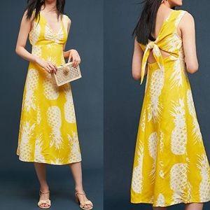 Anthropologie Maeve Pineapple Print Midi Dress